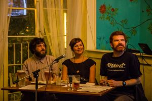 Two beards and a woodlouse, Sally Jenkinson, Adam Kammerling and Richard Tyrone Jones